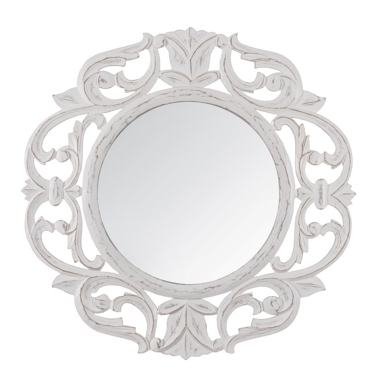 Carved Mirror Alba   White