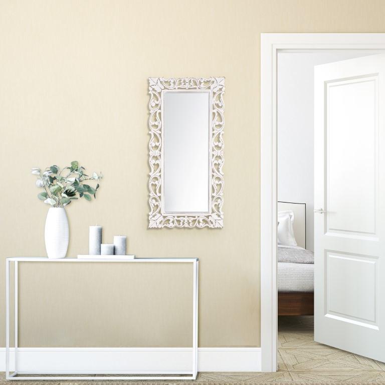 Carved Mirror Passo   White