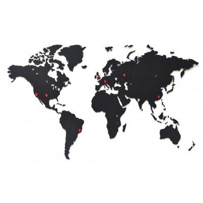 Luxus-Weltkarte aus Holz 90 x 54 cm   Schwarz