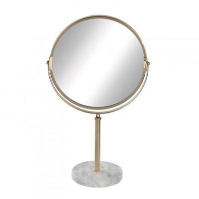 Runder Spiegel mit Marmorsockel | Gold