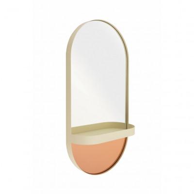Wandspiegel mit Regal Oval | Creme