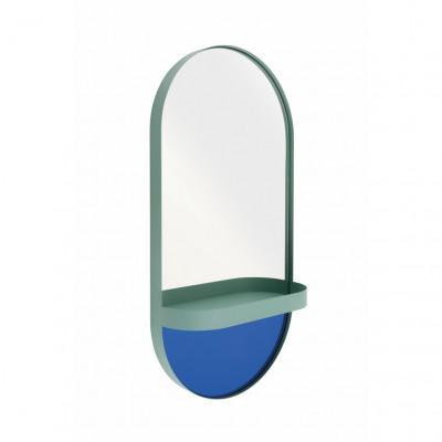 Wandspiegel mit Regal Oval | Minzgrün