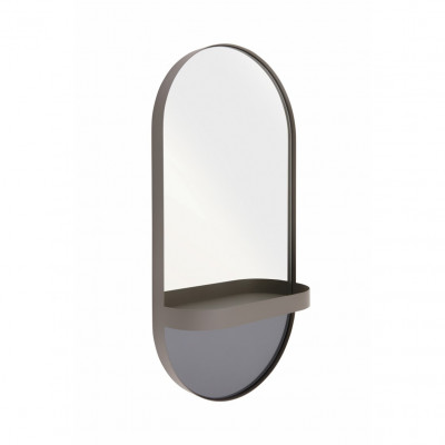 Wall Mirror with Tray Oval | Taupe