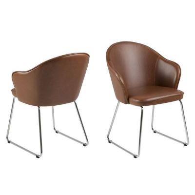 Set of 2 Chairs Mazz   Dark Brown