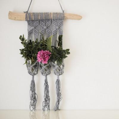 Blumenbeet für 3 Pflanzen Makramee | Grau