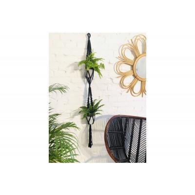 Blumenbeet für 2 Pflanzen Macramé | Schwarz