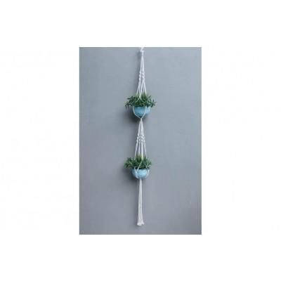 Blumenbeet für 2 Pflanzen Makramee | Sahne