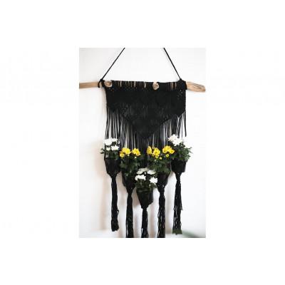 Blumenbeet für 5 Pflanzen Macramé | Schwarz