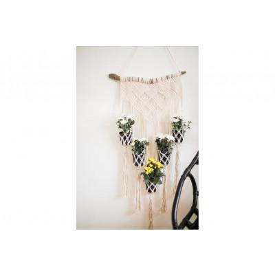 Blumenbeet für 5 Pflanzen Makramee | Sahne