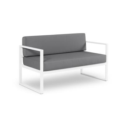 2-Sitzer-Sofa Nicea | Weißer Rahmen & Dunkelgrau