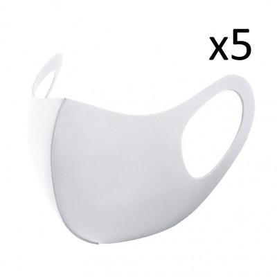 Waschbare Gesichtsmaske 5er-Set | Weiß