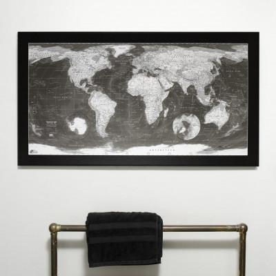 Klassische Weltkarte | Monochrom