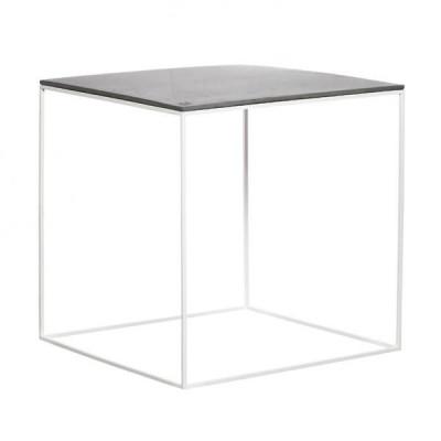 MoonSquare Beistelltisch   Weißer Stahlrahmen / graue Tischplatte