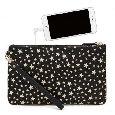 MightyPurse Wristlet   Black Gold Star