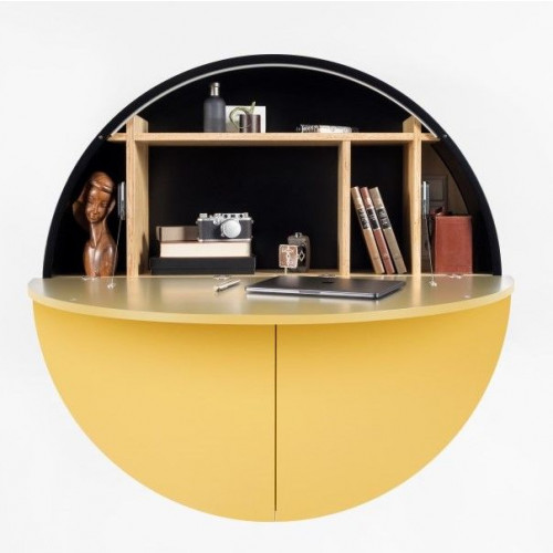 Schreibtisch Pill   Schwarz / Gelb