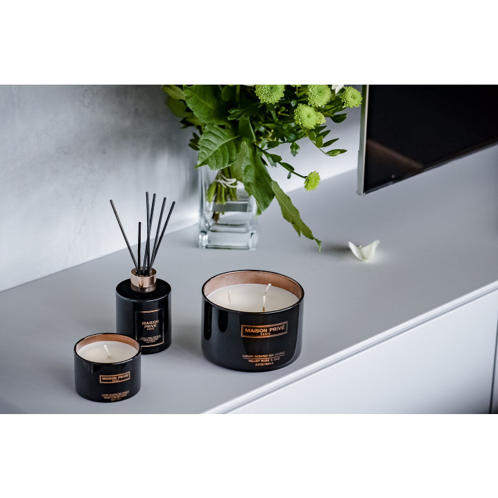 Luxus-Aroma Schilfrohrdiffusor + Kerze | Samtrose & Oud / Blutorange & Grapefruit