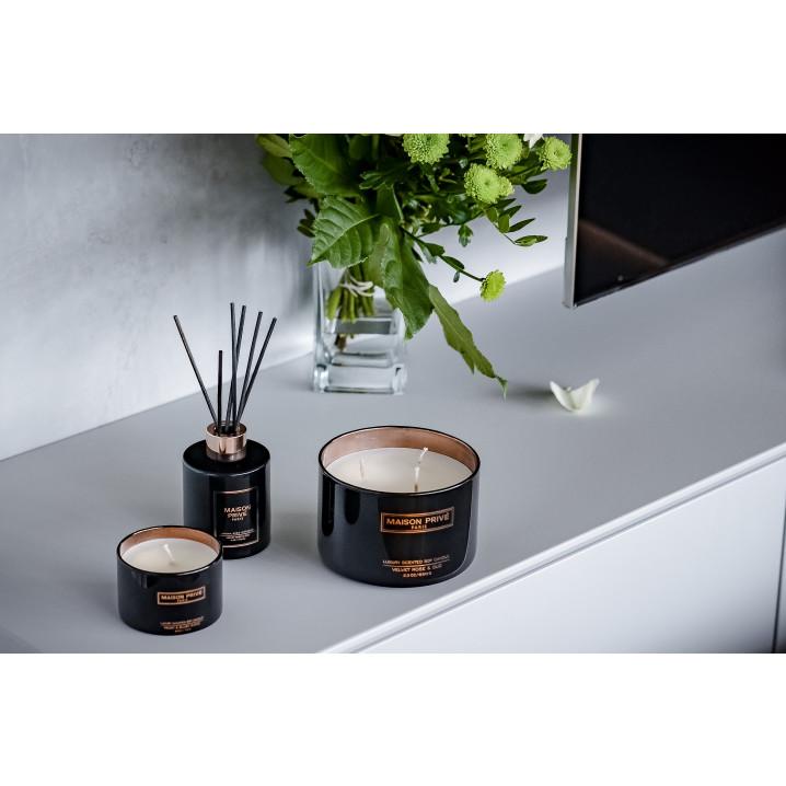 Luxus-Aroma Schilfrohrdiffusor + Kerze | Blutorange & Grapefruit / Samtrose & Oud