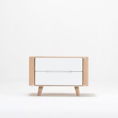 Nachttisch Ena 2 Schubladen | Weißes Hartwachs geölt