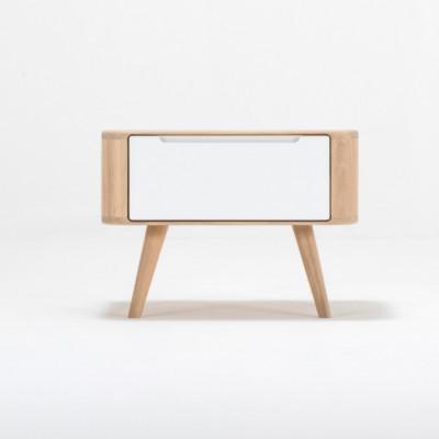 Nachttisch Ena 1 Schublade | Weißes Hartwachs geölt