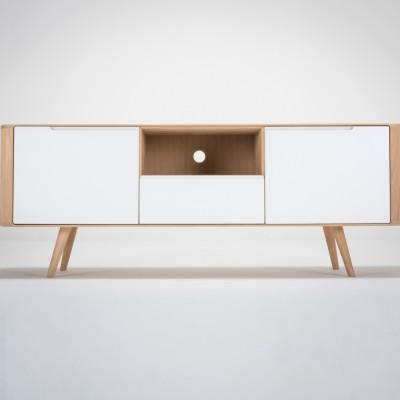 TV-Sideboard Ena 2 | Weißes Hartwachs geölt