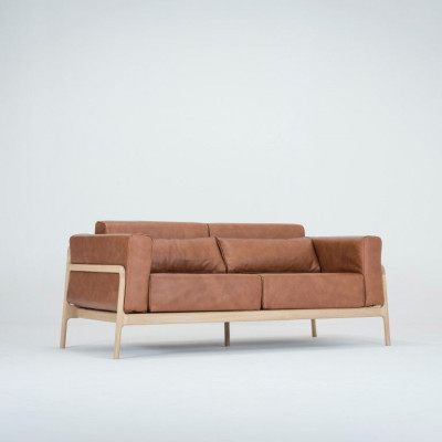Leder 2-Sitzer-Sofa Fawn | Braun