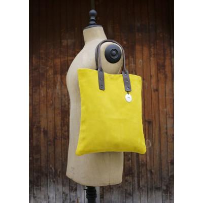 Gelbe Handtasche Wildleder Kalb
