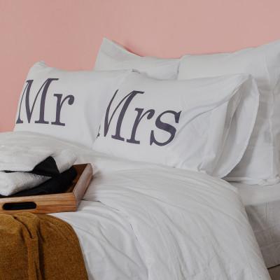 2er-Set Kissenbezüge   Mr & Mrs