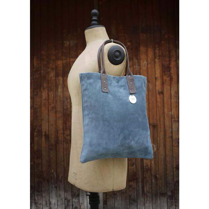 Blue Handbag Suede Calf