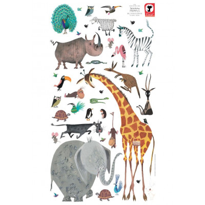 Wandaufkleber 97 x 180 cm | Satz mit 39 Aufklebern | Tiere XL