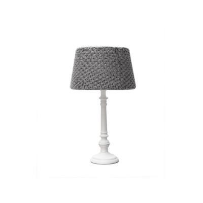 Tischlampe Cottage – M | Weißes Holz - Anthrazit Baumwolle