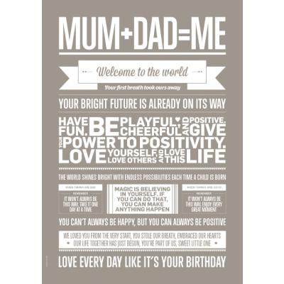 Liebe Typografie Poster | Mama + Papa = Ich