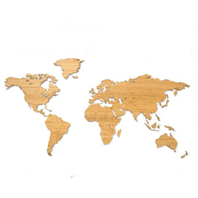 Wooden World Map   Bamboo