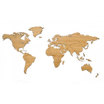 Wooden World Map   Oak