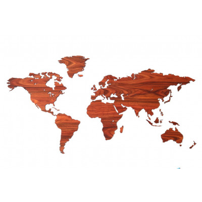 Wooden World Map   Rosewood