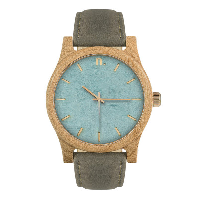 Uhr Herr CLASSIC 43   Grau, Hellblau & Gold