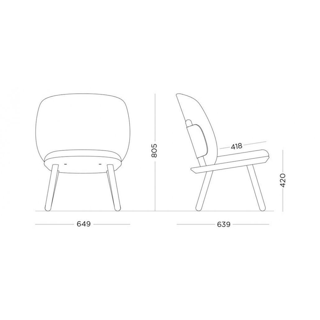 Niedriger Stuhl Naive | Cognac Kvadrat-Stoff