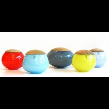 Unique Glass Jar Light Blue