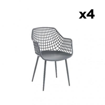 4-er Set Sessel Nairobi | Grau
