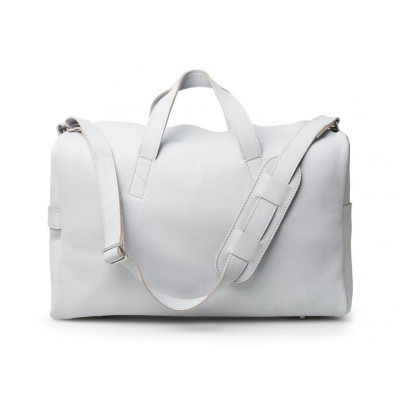 Overnighter Bag | Light Grey Smooth Leather