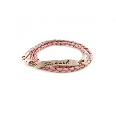 Wrapped Braided Leather Bracelet | Vintage Pink & Rose Gold