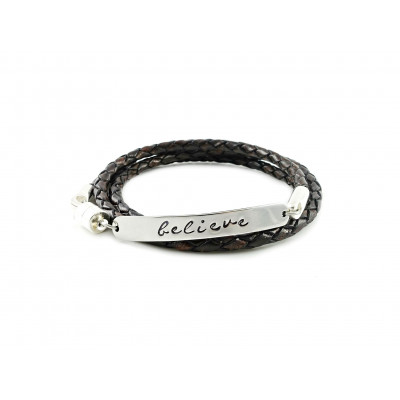 Wrapped Braided Leather Bracelet | Antique Brown & Silver