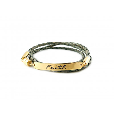 Wrapped Braided Leather Bracelet | Antique Green & Gold