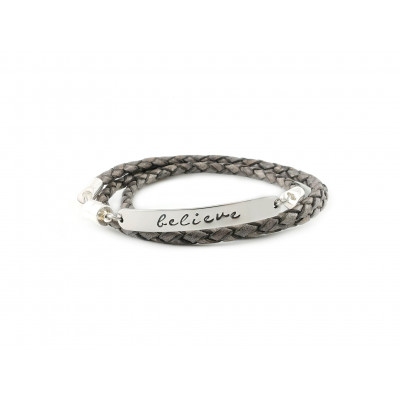 Wrapped Braided Leather Bracelet | Vintage Grey & Silver