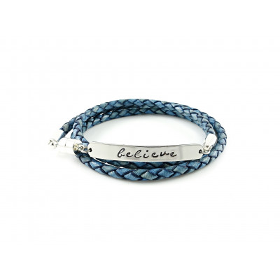Wrapped Braided Leather Bracelet | Natural Blue & Silver