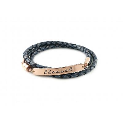 Wrapped Braided Leather Bracelet | Antique Pacifique & Rose Gold