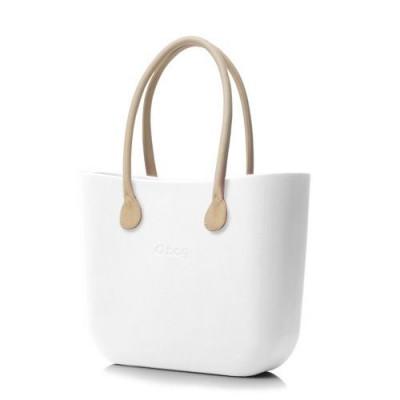 O Tasche natürliche Ledergriffe   Weiß