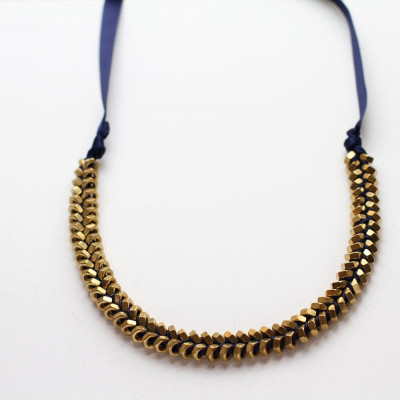 Necklace Navy Gold