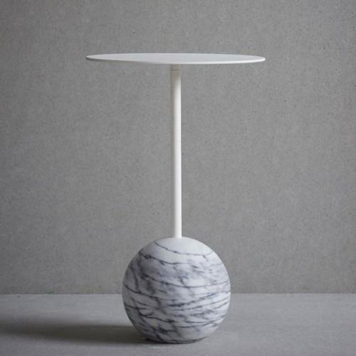 Knock-out-Tisch Runde | Weißer Marmor