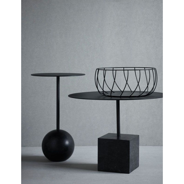 Knock Out Table Round | Black Marble