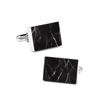 Marble Cuff Links | Nero Marquina (Rectangular)